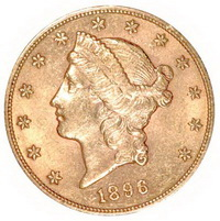 Златна монета 20 АМЕРИКАНСКИ ДОЛАРА Двоен орел и статуята на свободата глава Година 1896 ПРОБА 900 21,60 К. Тегло 33,43 гр.