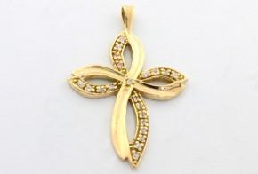 Златен кръст от жълто злато с циркони  VK0020