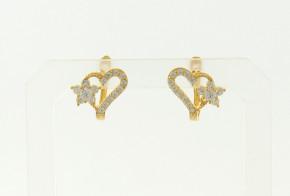 Детски златни обеци от жълто злато с циркони OBD0021
