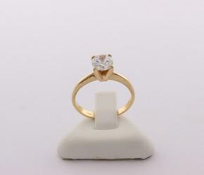 Годежен пръстен от жълто злато с циркон - 2,35 грама