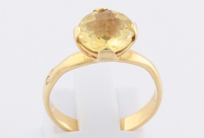 Дамски пръстен от жълто злато с цитрин и диаманти D940