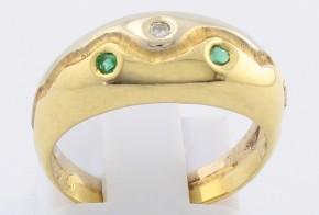 Дамски пръстен от бяло и жълто злато с изумруди и диамант D19