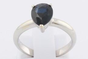 Дамски пръстен от бяло злато със сапфир D1211
