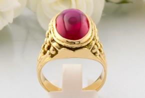 Мъжки пръстен от жълто злато с циркони РУСЕНСКИ MD0057