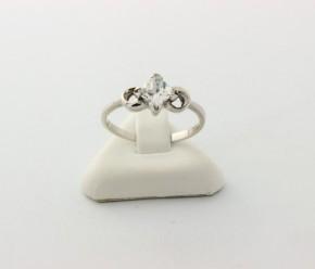 Годежен пръстен от бяло злато с циркон- 2,21 грама, размер 56