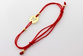 Златна гривна с червен конец пеперуда ZGC0012