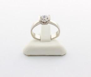 Годежен пръстен от бяло   злато с циркон- 3,45 грама, размер 52