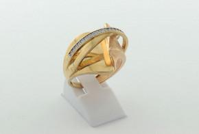 Дамски пръстен от жълто злато с циркони DD0200