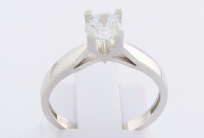 Годежен пръстен от бяло злато с циркон GD0140