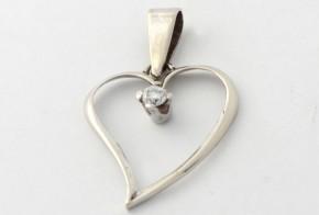Висулка от бяло злато с диамант  VE330