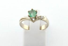 Годежен пръстен от бяло  злато с диамант D3087