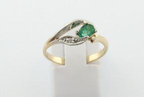 Пръстен от бяло и жълто  злато с диамант D3090