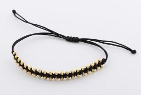 Златна гривна с черен конец със златни топчета ZGC0015