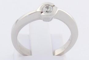 Годежен пръстен от бяло злато с циркон GD0137