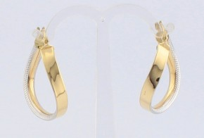 Златни обеци от бяло и жълто злато OB0149