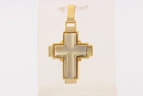 Златен кръст от бяло и жълто злато  VK0143