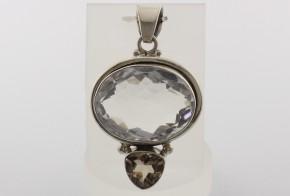 Сребърна висулка с планински кристал и опушен кварц SV0003