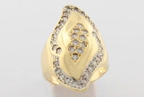 Дамски пръстен от жълто злато с циркони DD0136