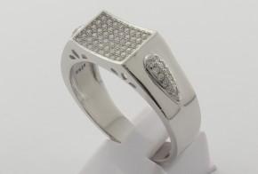 Мъжки сребърен пръстен с циркони SM0048