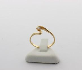 Годежен пръстен от жълто злато с циркон - 1,67 грама