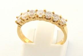 Дамски пръстен от жълто злато с циркони DD0083
