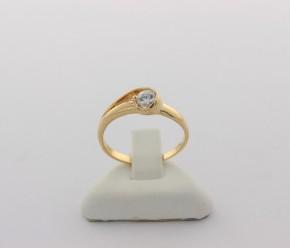 Годежен пръстен от жълто злато с циркон - 2,29 грама