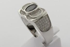 Мъжки сребърен пръстен с циркони SM0032