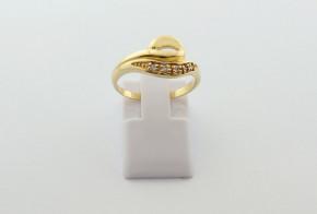 Дамски пръстен от жълто злато с циркон DD0216