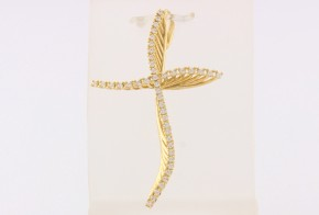 Златен кръст от  жълто злато с циркони VK0134