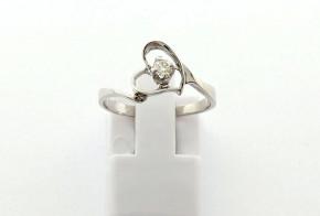 Годежен пръстен от бяло  злато с диамант D3066
