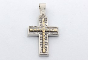 Златен кръст от  бяло и жълто злато с циркони VK0057