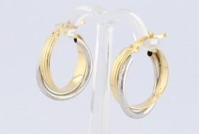 Златни обеци халки от бяло и жълто злато OB0142