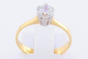 Годежен пръстен от бяло и жълто злато с циркон GD0107