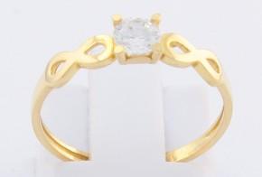 Годежен пръстен от жълто злато с циркон GD0128