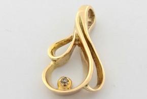 Висулка от жълто злато с диамант VE804