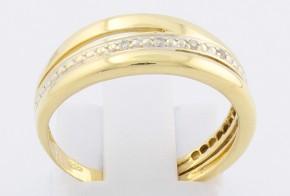 Дамски пръстен от жълто злато с диаманти D1106
