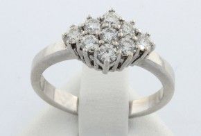 Дамски пръстен от бяло злато с диаманти    D838