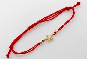 Златна гривна с червен конец със звездичка ZGC0007