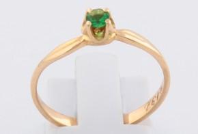Годежен пръстен от жълто злато с изумруд D1192