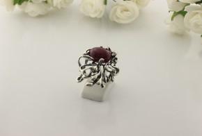 Дамски сребърен пръстен с рубин SD02