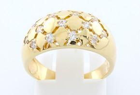 Дамски пръстен от жълто злато с циркони DD0059