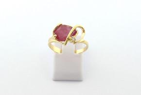 Годежен пръстен от жълто  злато с диамант D3075-1