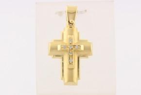 Златен кръст от  жълто злато с циркони VK0139