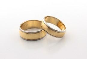 Брачни халки от бяло и жълто злато BH0250