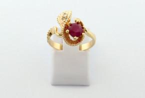 Годежен пръстен от жълто  злато с диамант D3081