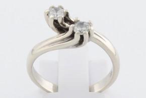 Годежен пръстен от бяло злато с циркони GD0121